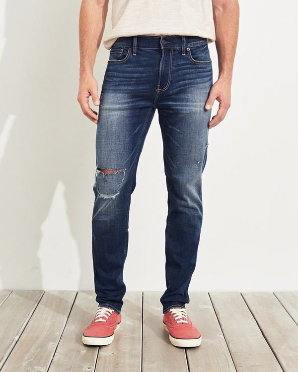 Jeans Hollister Uomo Advanced Stretch Athletic Skinny Lavaggio Scuro Italia (977ZUBEO)