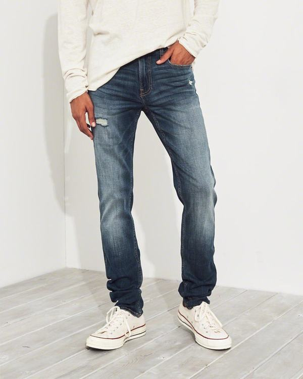 Jeans Hollister Uomo Advanced Stretch Stacked Skinny Lavaggio Italia (338LSIMR)