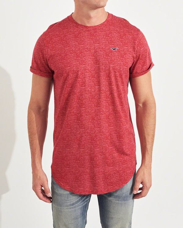 Magliette Hollister Uomo Must-Have Curved Hem Rosse Italia (602KCEHG)